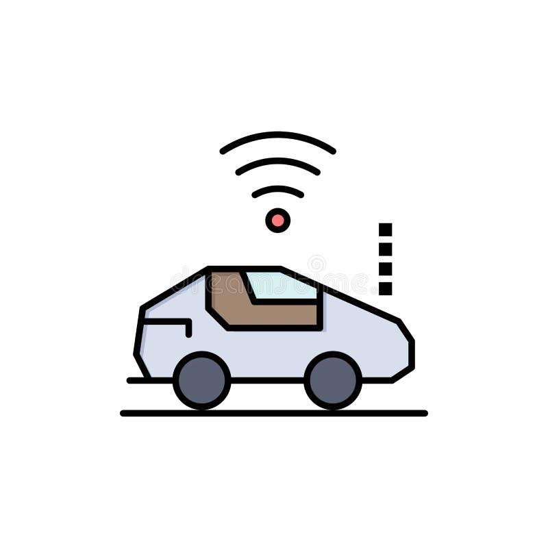 Ikona Auto, Car, Wifi, Sygnał Płaskokolorowy Szablon transparentu ikony wektorowej ilustracja wektor