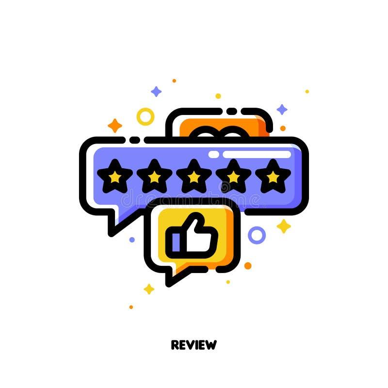 Ikona bąble z pięć gwiazdami i ręka kciuk w górę którego symbolizuje dobrą klienta produktu ocenę lub pozytywów użytkowników info ilustracji