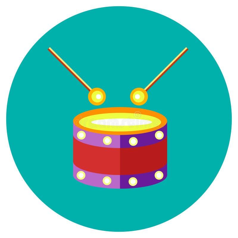Ikona bęben zabawki w mieszkanie stylu Wektorowy wizerunek na round barwionym tle Element projekt, interfejs ilustracji