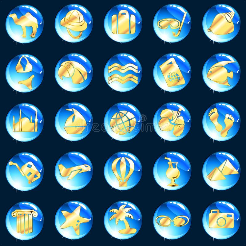 ikona błękitny egzotyczny złocisty wakacje ilustracja wektor