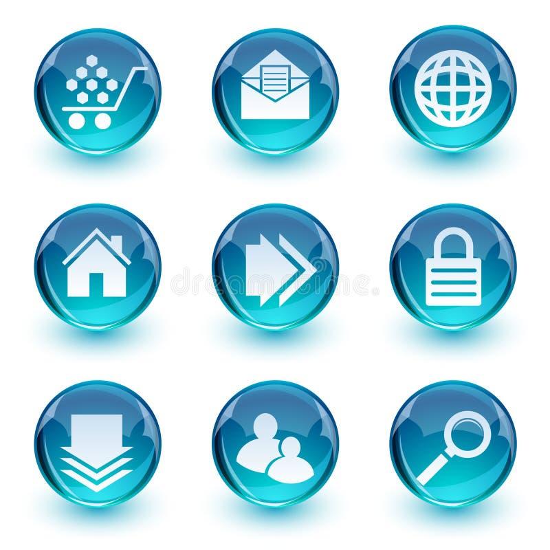 ikona błękitny glansowany set royalty ilustracja