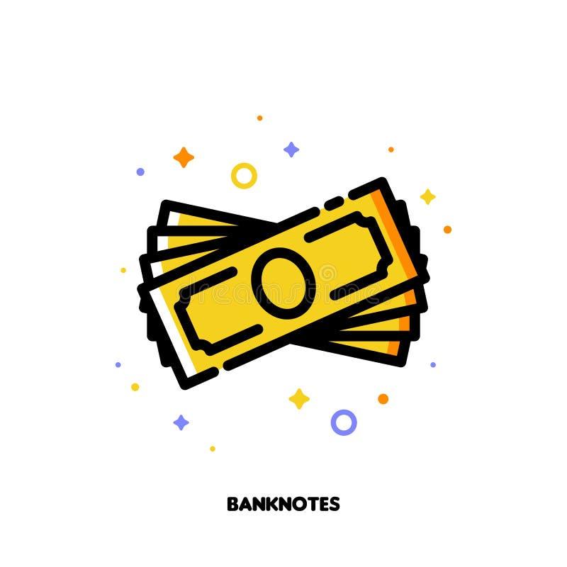 Ikona banknot sterta dla pieniądze pojęcia Mieszkanie wypełniający kontur ilustracji