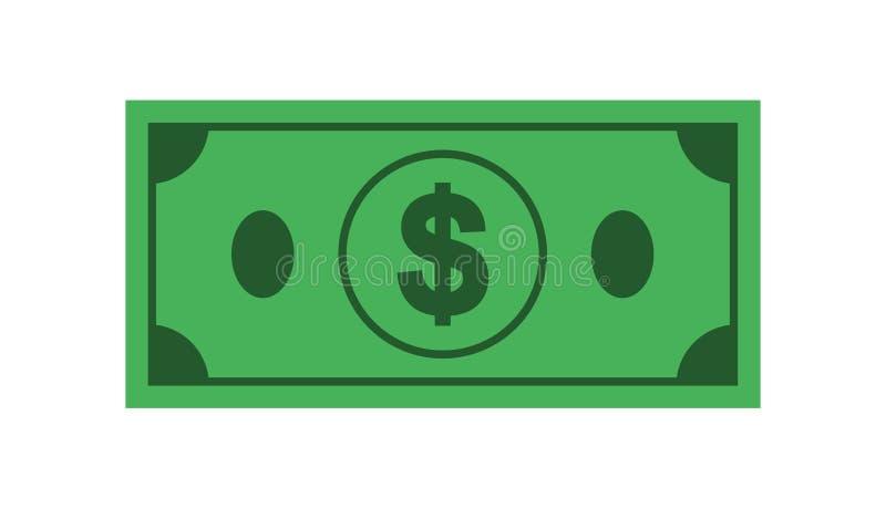 Ikona banknotu dolar na odosobnionym białym tle, Symbol currencie w mieszkanie stylu ilustracja wektor
