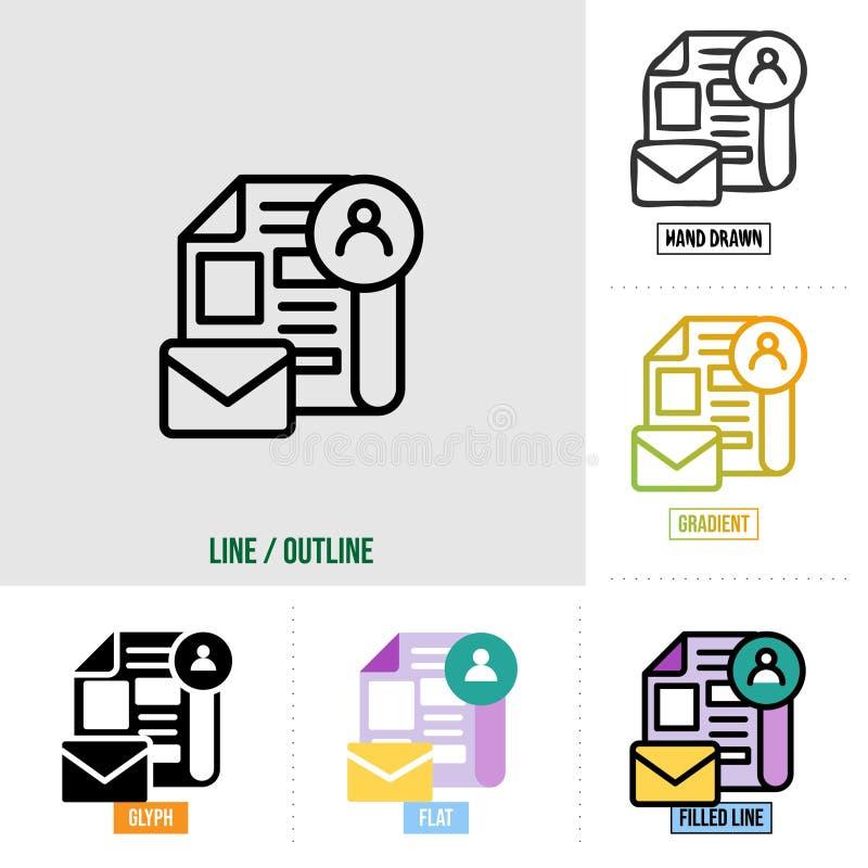 Ikona biuletynu w sześciu różnych stylach, na podstawie stylu konturu, zestawu ikon seo, wektora obrazy royalty free