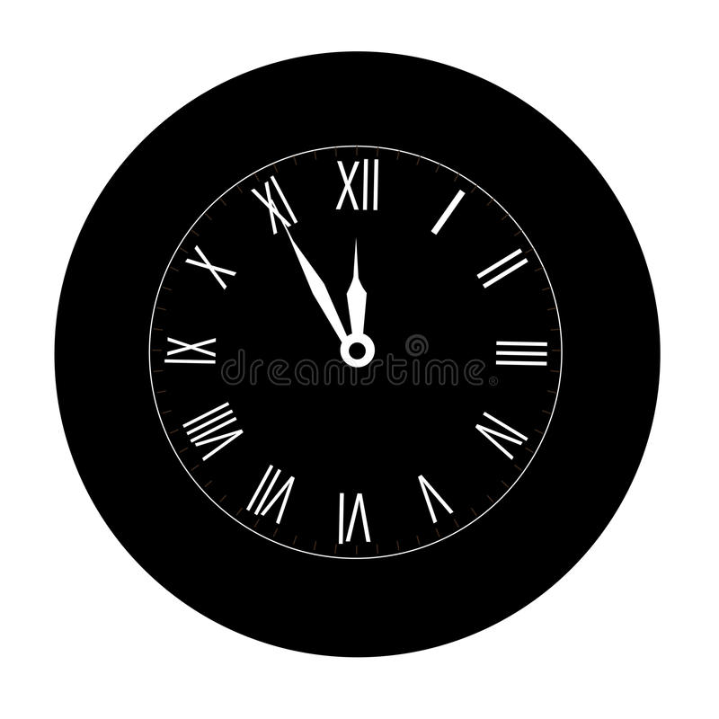 Ikona Bożenarodzeniowy czarny ścienny zegar na białym tle midpoint ilustracja wektor