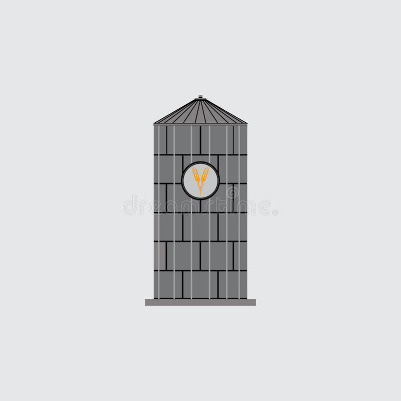 Ikona bunkieru silosy, emblemat dla firmy, ratuje adrę ilustracja wektor