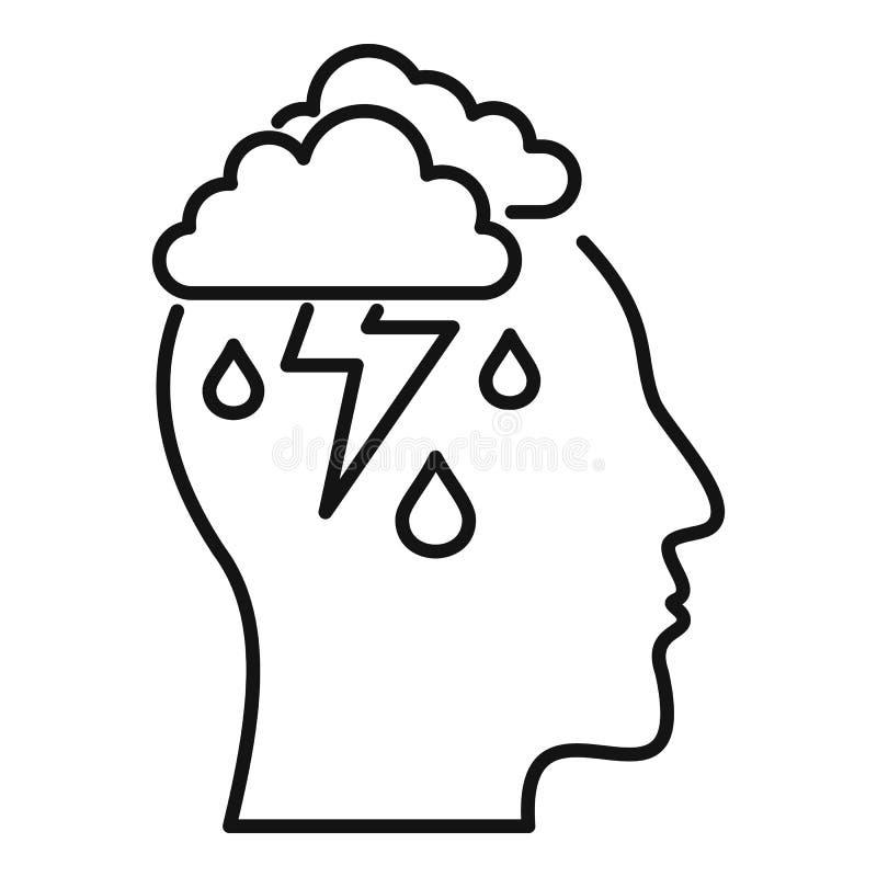 Ikona burzy umysłu, styl konturu ilustracja wektor