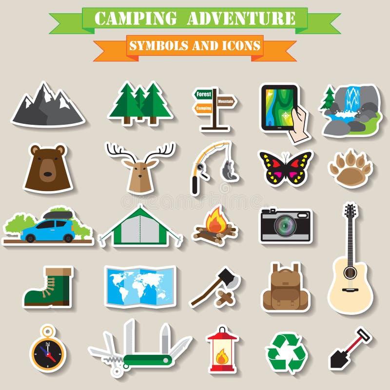 ikona campingowy set ilustracja wektor