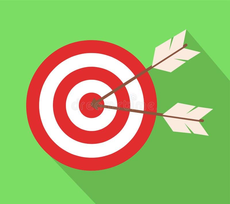 Ikona cel z strzała w płaskim projekcie ilustracja wektor