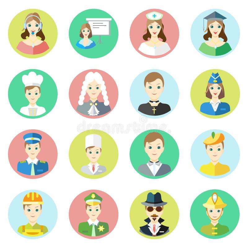 Ikona charaktery różni zawody telefoniczny operator, biznesmen, pielęgniarka, naukowiec, kucharz, sędzia, ksiądz ilustracja wektor
