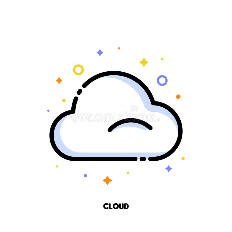 Ikona chmura która symbolizuje obłoczny obliczać dla SEO pojęcia Mieszkanie wype?niaj?cy konturu styl Piksel perfect 64x64 ilustracji