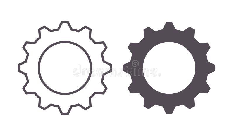 Ikona cienkich i płaskich narzędzi wektorowych Symbol koła zębatego i przekładni mechanicznej, maszynowej, architektury i pomysłó royalty ilustracja
