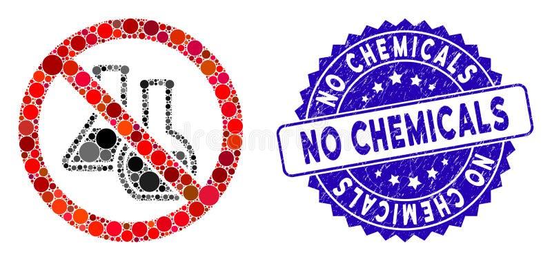 Ikona Collage No Chemicals z distress No Chemicals Stamp ilustracji