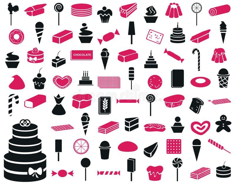 Ikona cukierki i ciasteczko produkty ilustracja wektor