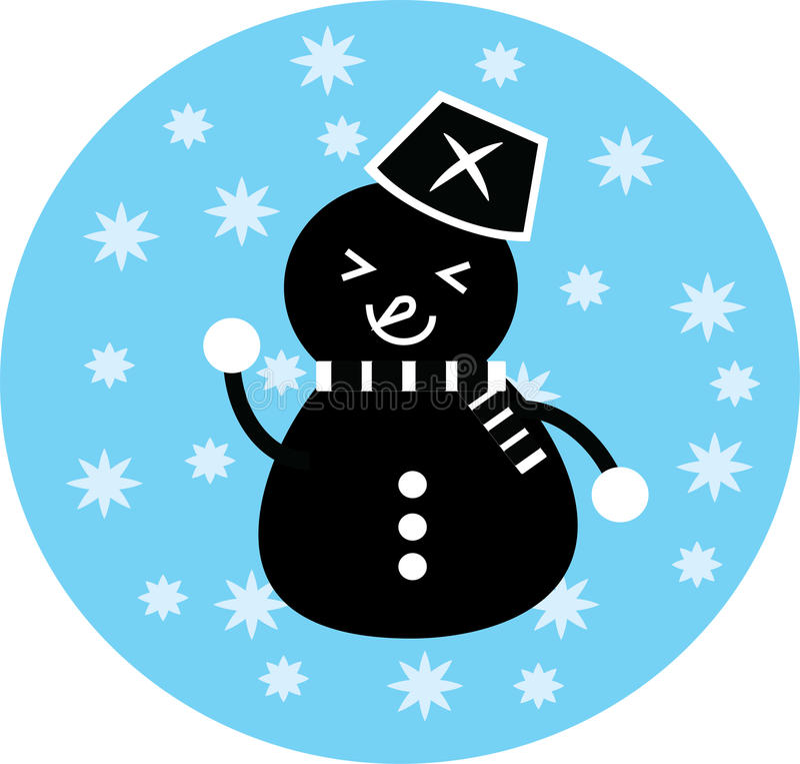 Ikona czarny śnieżny mężczyzna obraz stock