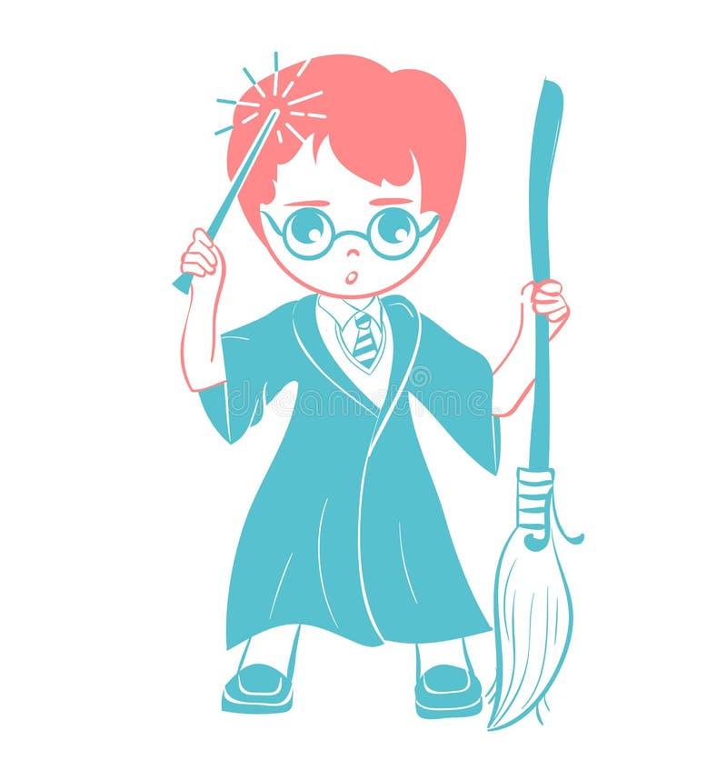 Ikona czarownik chłopiec ilustracja wektor