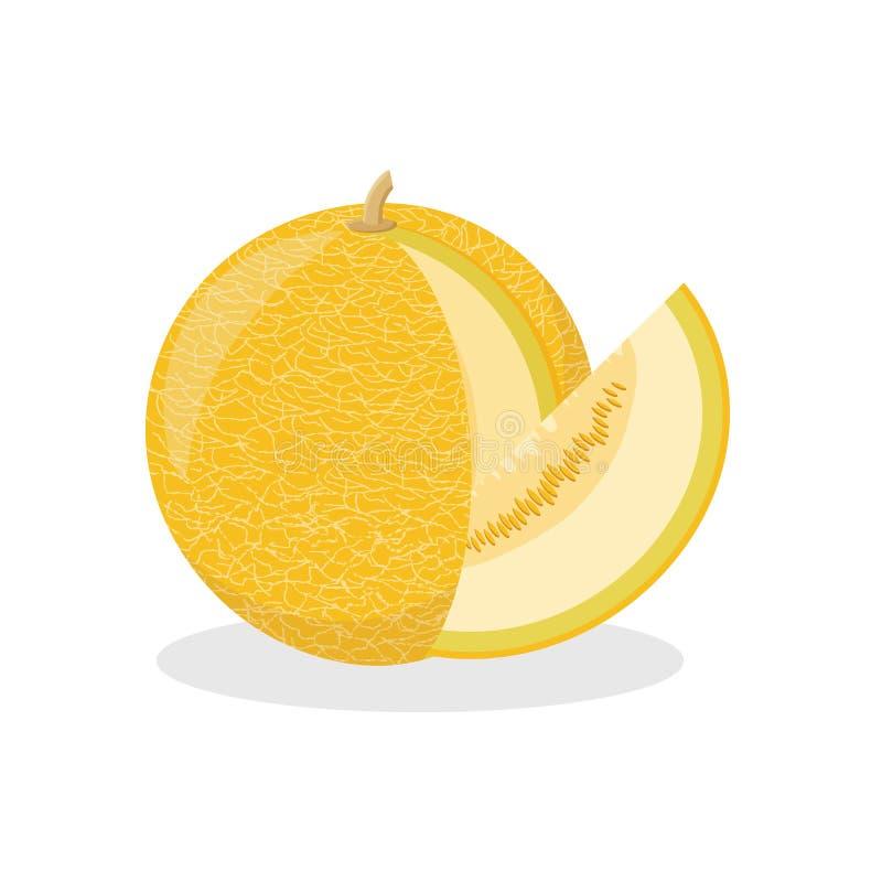 Ikona dojrzały żółty melon z rżniętym kawałkiem na białym tle royalty ilustracja