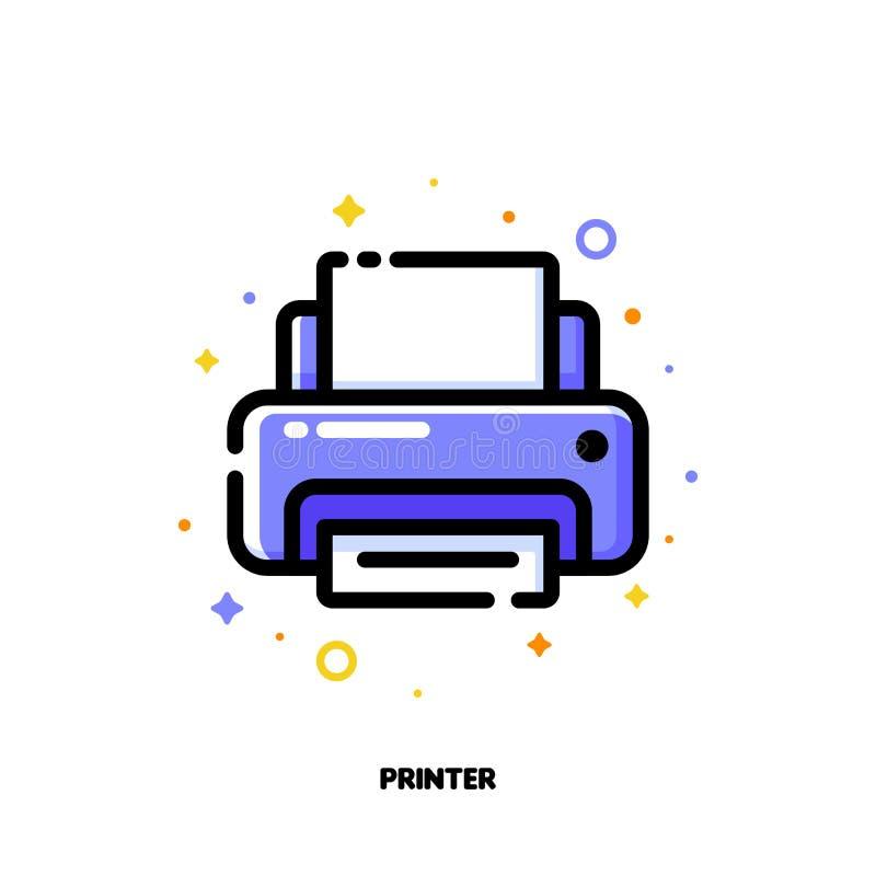 Ikona drukarka dla biurowej pracy pojęcia Mieszkanie wypełniający kontur ilustracji