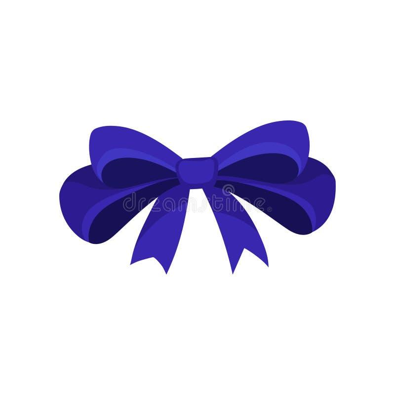 Ikona duży błękitny łęk Włosiany akcesorium dla dziewczyny Dekoracyjny płaski wektorowy element dla zaproszenia, prezenta alegata ilustracja wektor