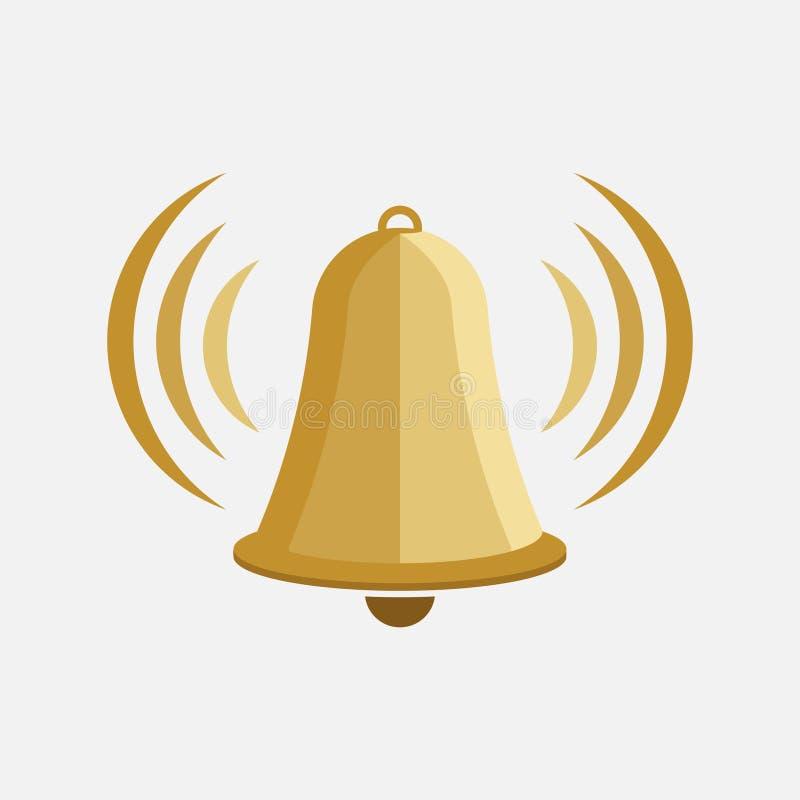 Ikona dzwon, dzwonkowy wierza, znak ostrzegawczy, płaski projekt ilustracja wektor