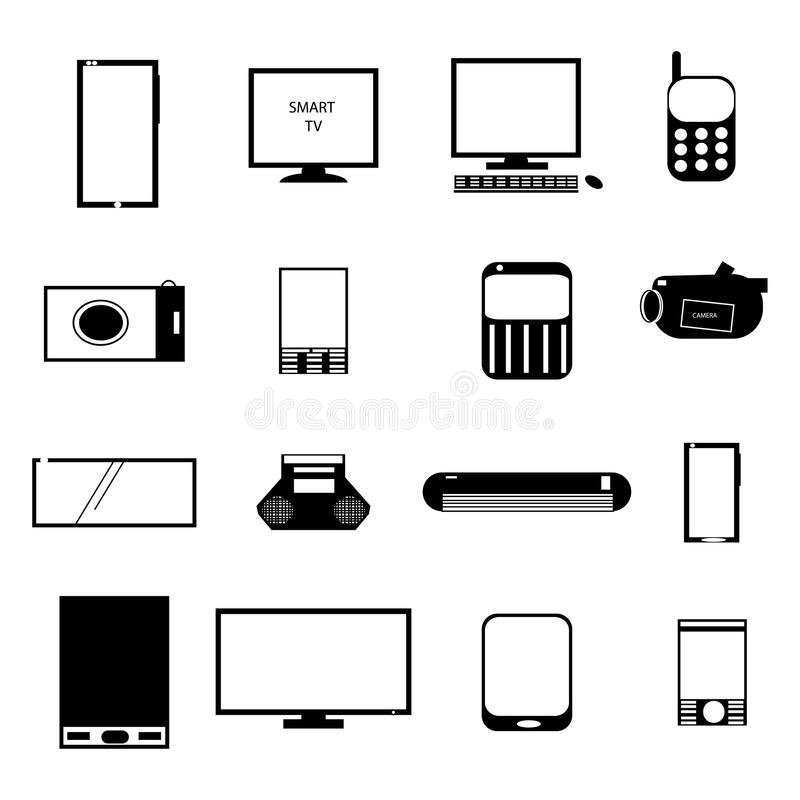 ikona elektroniczny set royalty ilustracja