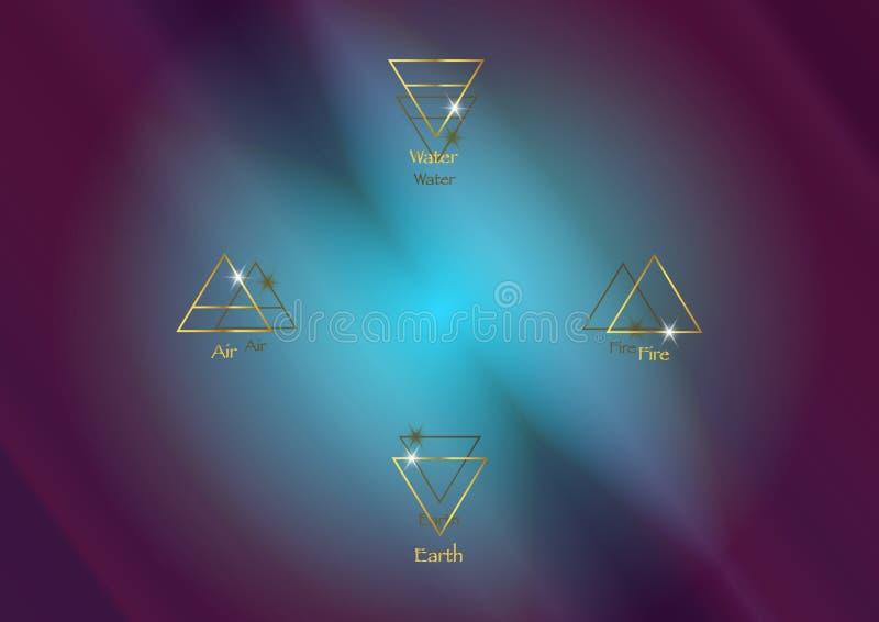 Ikona elementy: Powietrze, ziemia, ogie? i woda, Wiccan wr??by symbole Antyczni occult złociści symbole, południe, wschód, północ ilustracja wektor