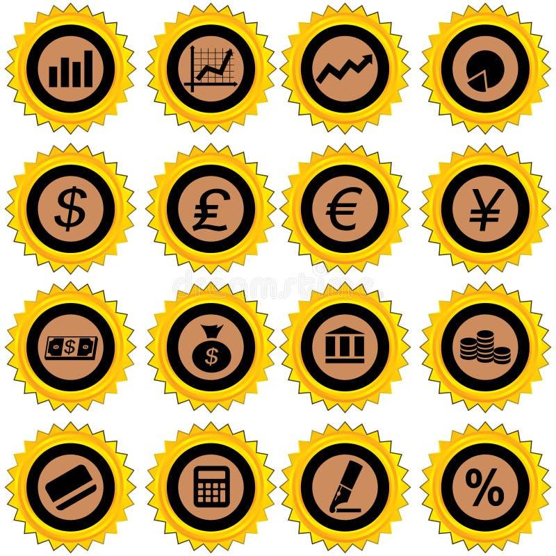 ikona finansowy set royalty ilustracja