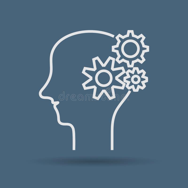Ikona główkowanie mężczyzna, pojęcia brainstorming royalty ilustracja