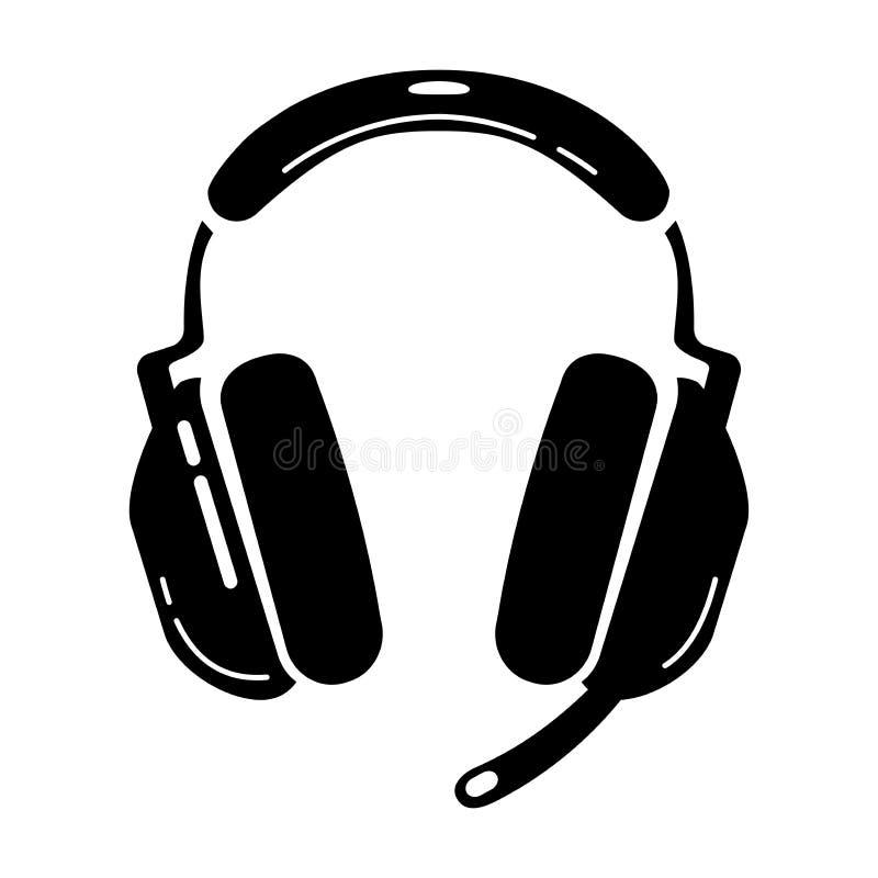 Ikona glifu zestawu nagłownego do gier. Sprzęt sportowy. Słuchawki komputerowe z mikrofonem. Gemowy przyrz?d. Sylwetka symbol royalty ilustracja