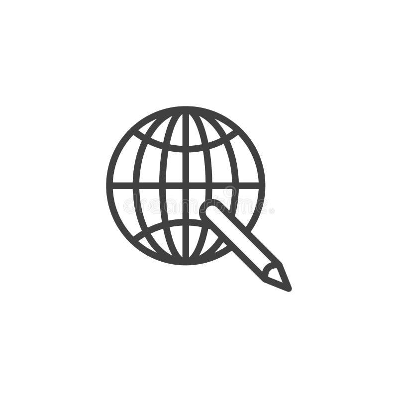 Ikona globalnej linii e-learning royalty ilustracja
