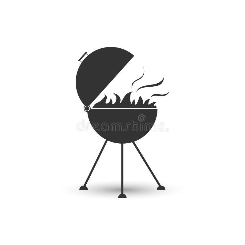 Ikona grill dla kulinarnego mięsa z ogieniem P?aski projekt ilustracji