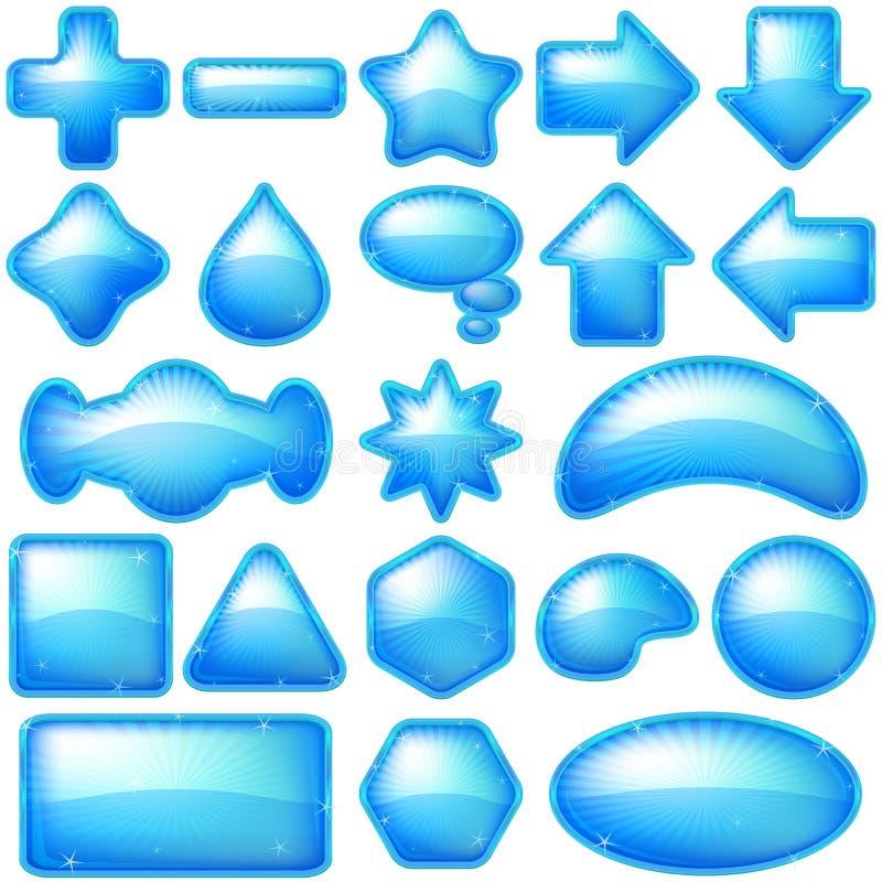 Ikona guzików błękit, set ilustracja wektor