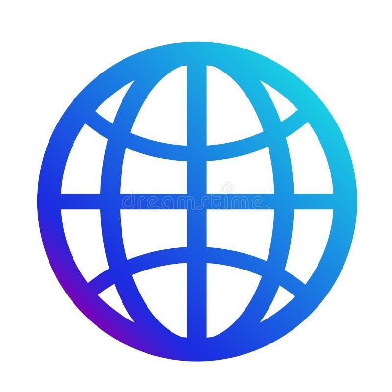 Ikona internet Symbol strona internetowa Kula ziemska znak royalty ilustracja