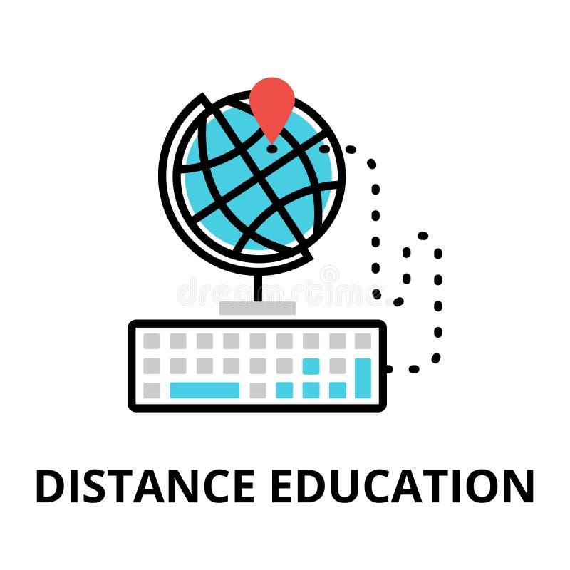 Ikona interneta uczenie proces i dystansowa edukacja ilustracja wektor