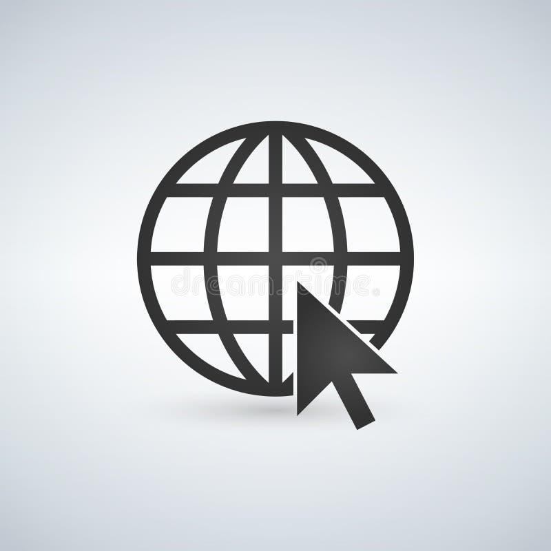 ikona internetu technologii komputerowych Iść sieć znak Internetowy symbol Kula ziemska i kursor royalty ilustracja