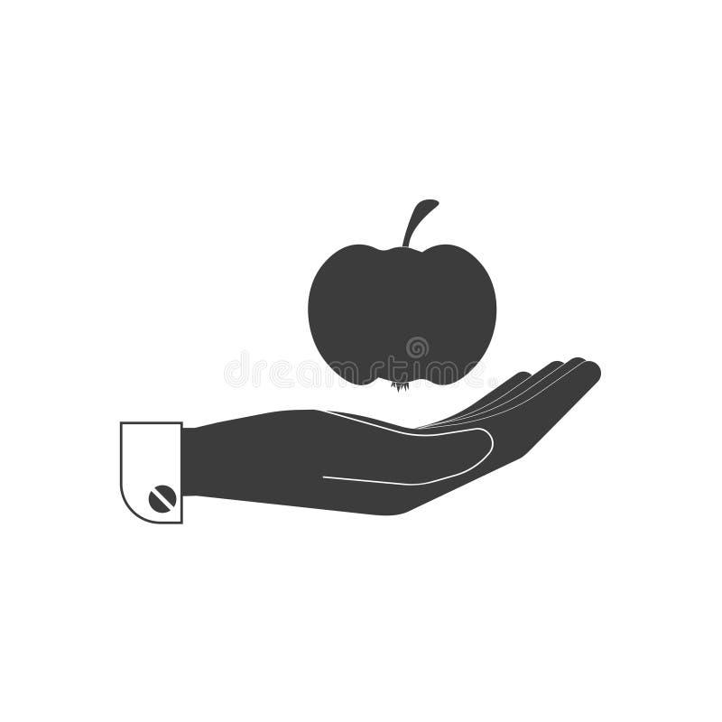 Ikona, jabłko, owoc na ludzkiej palmie w czerni royalty ilustracja