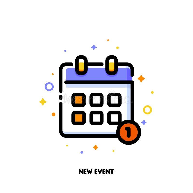 Ikona kalendarz dla nowego wydarzenia pojęcia Mieszkanie wypełniający kontur ilustracja wektor