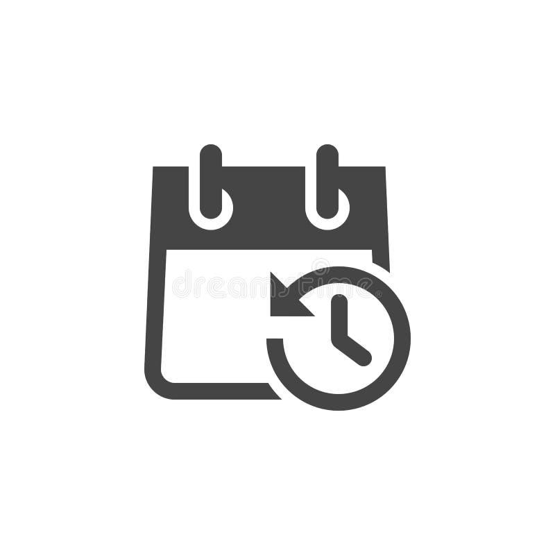 Ikona kalendarz z zegarem i strzałą w Opposite kierunku Rozkład, agenda, Timepiece, odliczanie, przypomnienie ilustracji