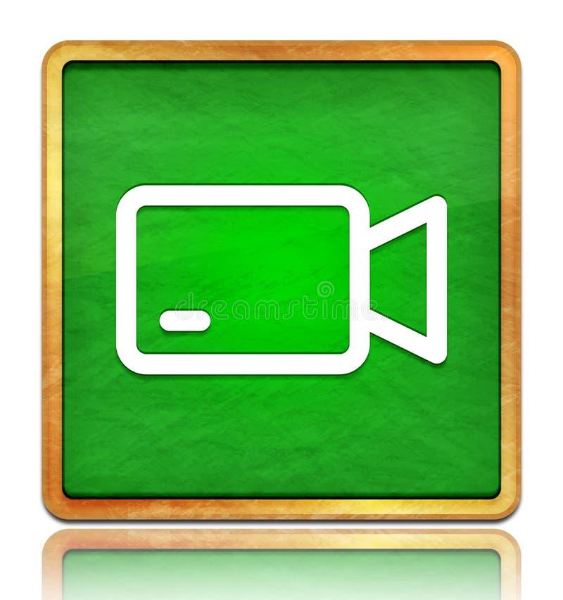 Ikona kamery wideo Kreda zielony kwadrat tekstura drewniana koncepcja ramki izolowana na białym tle z cieniem zdjęcia stock