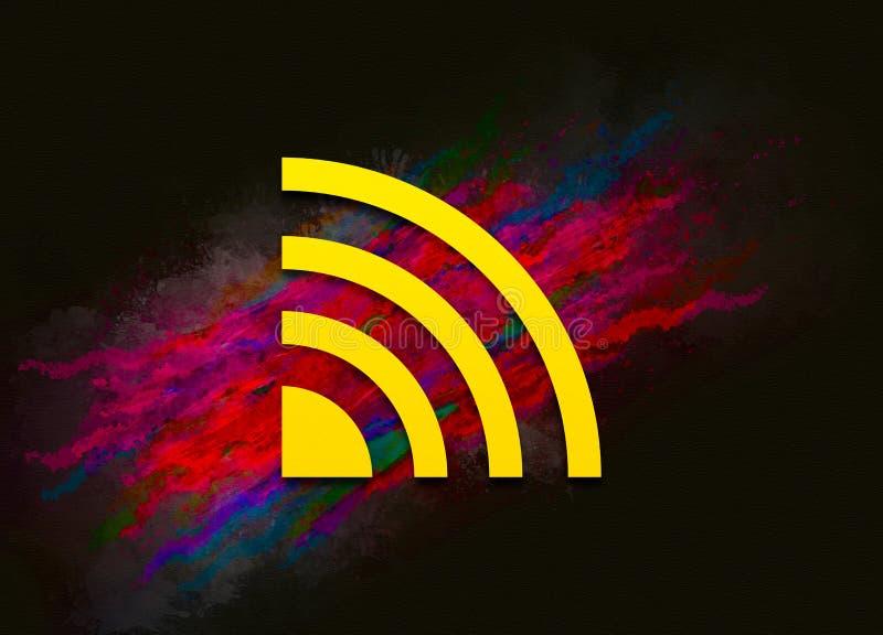 Ikona kanału informacyjnego RSS kolorowe pociągnięcia pędzlem tła abstrakcyjnym pędzlem tła Projekt ilustracji obrazy royalty free