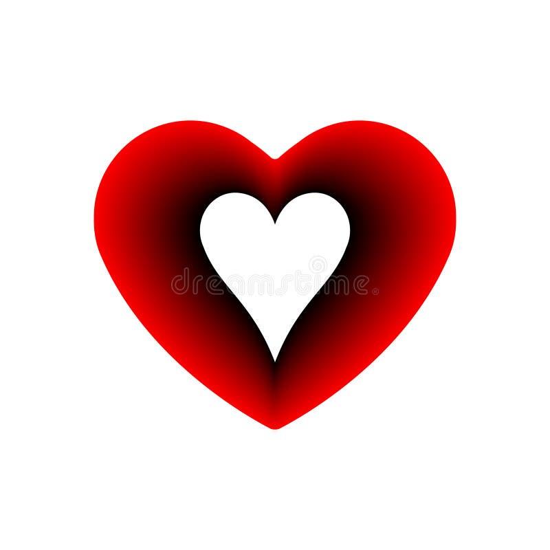 Ikona karku Red Heart Symbol miłości Walentynki z kombinezonami kart do gry na znaki Konstrukcja płaska, logo Ramka ilustracja wektor