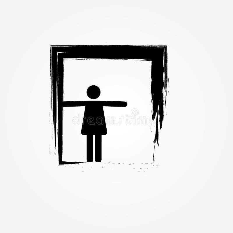 ikona kobiety czekanie przy drzwiowym abstraktem ilustracja wektor