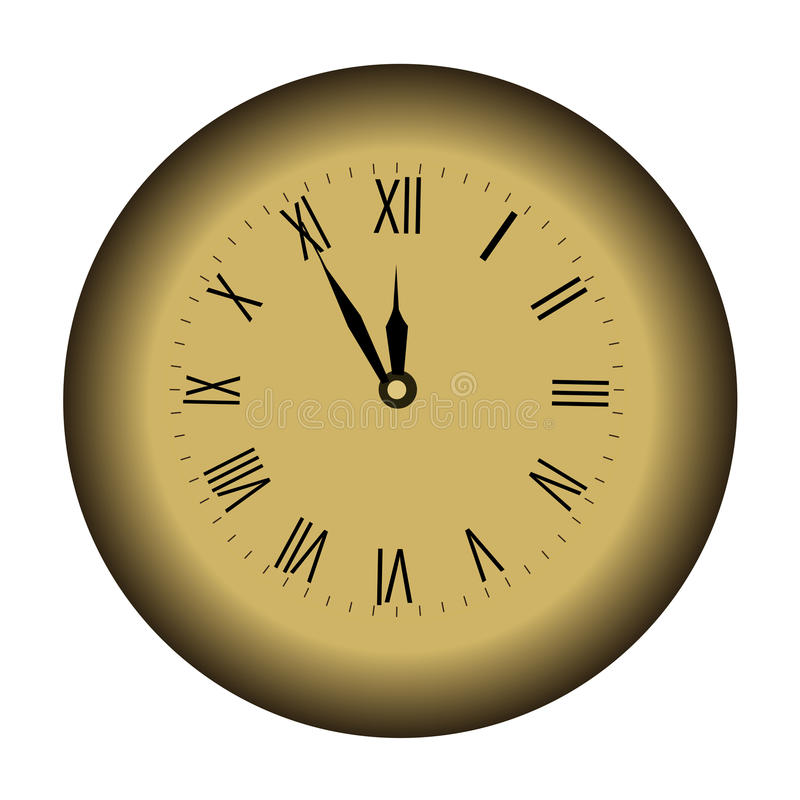 Ikona koloru Bożenarodzeniowy ścienny zegar na białym tle midpoint ilustracji