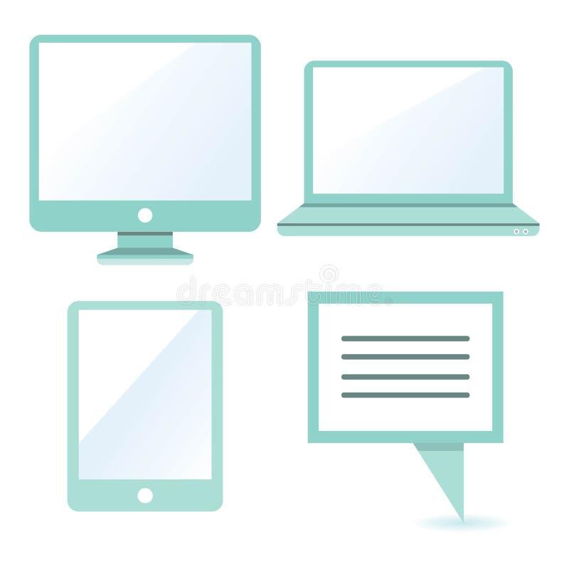 ikona komputerowy podpisany świat internetu ilustracja wektor