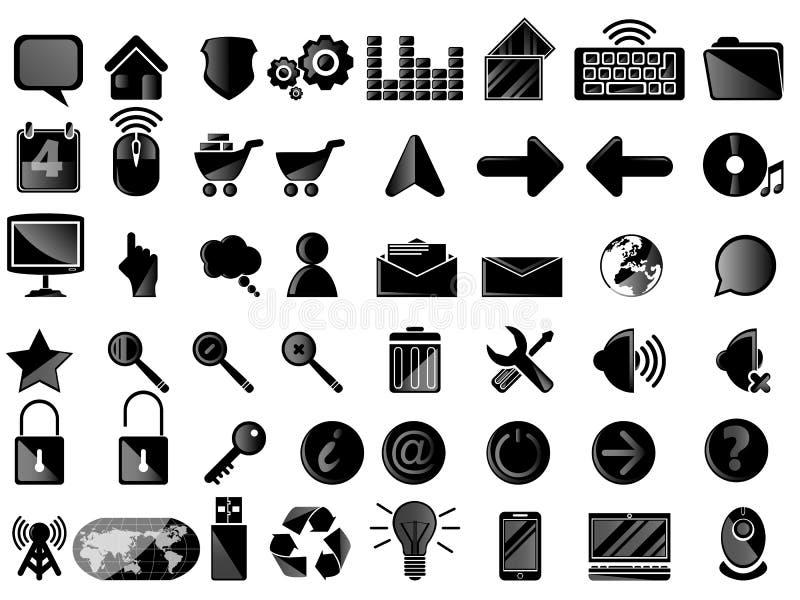 Ikona komputeru osobistego czerń ilustracja wektor