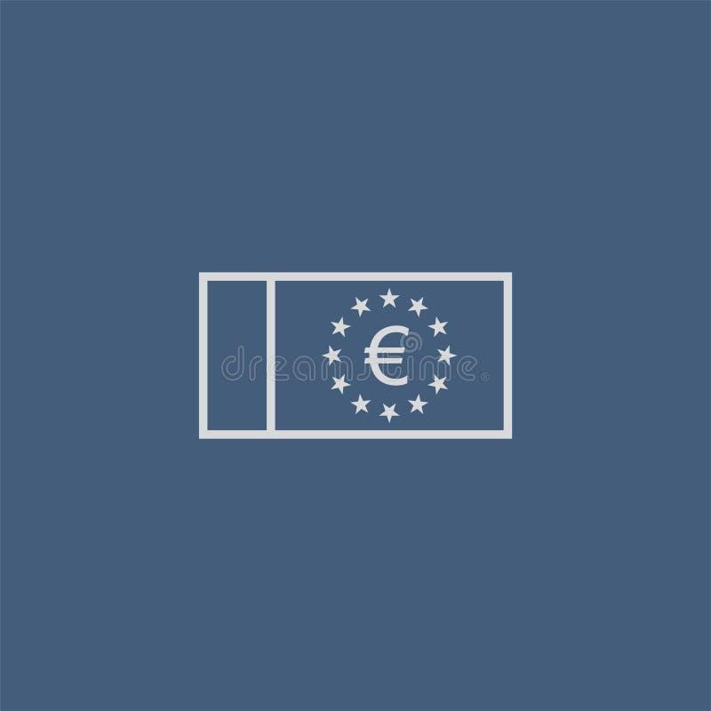 Ikona konspektu waluty euro Symbol EUR, nota bankowa z gwiazdkami i znakiem wektora Ilustracja środków pieniężnych ilustracji