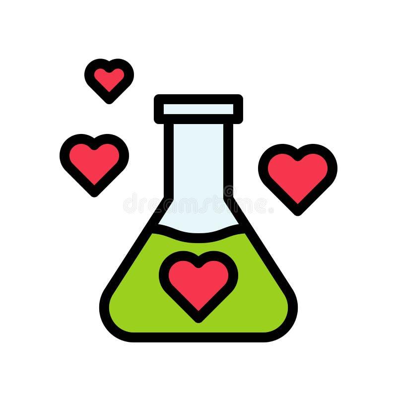 Ikona konturu chemii wektora miłości, Walentynki i miłości royalty ilustracja