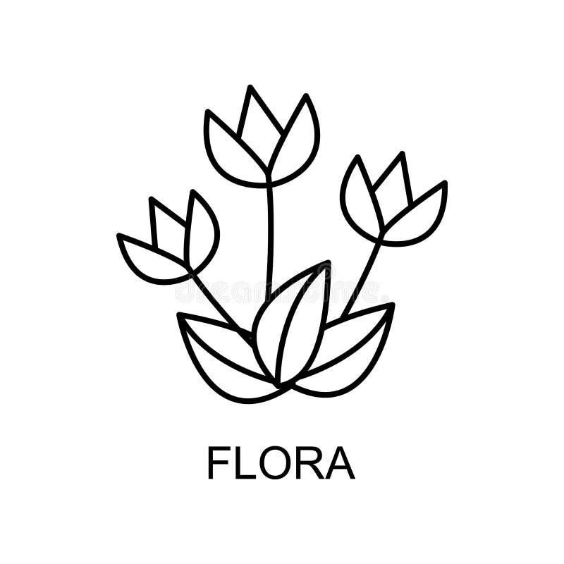 ikona konturu flory Element ikony ochrony środowiska z nazwą koncepcji mobilnej i aplikacji sieci Web Ikona flory cienkiej linii  ilustracji