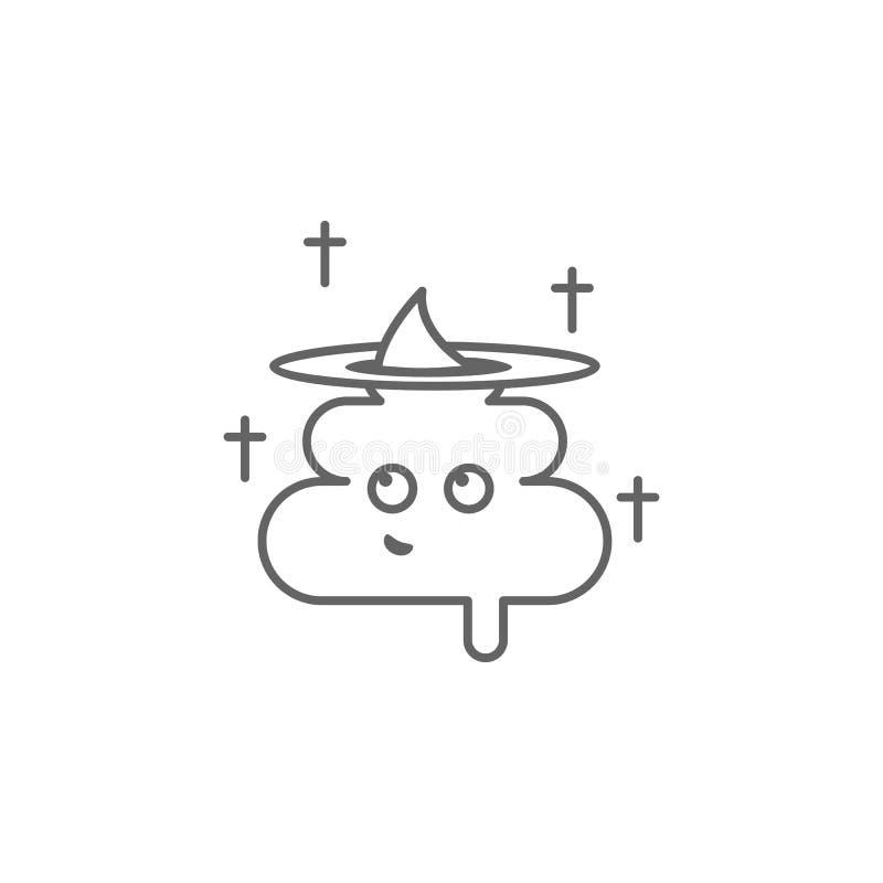 Ikona konturu kupa, chrześcijanin, anioł Element paskudnej ikony Ikona cienkiej linii do projektowania i projektowania witryn int ilustracji