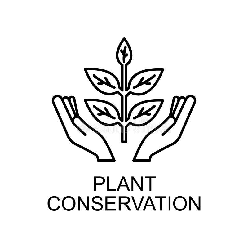ikona konturu ochrony roślin Element ikony ochrony środowiska z nazwą koncepcji mobilnej i aplikacji sieci Web Elektrownia cienka zdjęcia stock